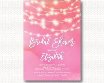 Lights Bridal Shower Invitation, Strings of Lights, String Lights, Chic, Modern, Pink, Typography, DYI Digital, Printable, Invitation