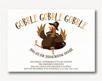 Gobble Turkey Thanksgiving Invitation, Turkey, Cute, DIY, Dinner, Typography, Invite, Digital, Printable, Unique, Modern,