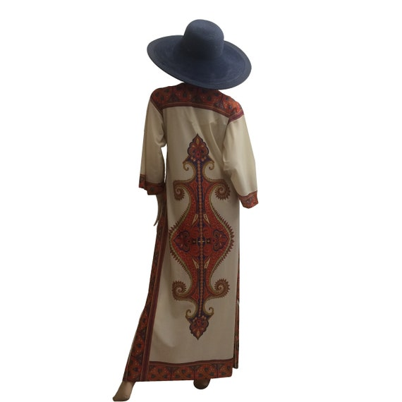 70's 3/4 Sleeve Polyester Kaftan with Psychedelic… - image 2