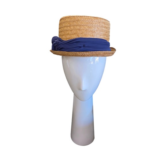 50's Straw Hat with Rayon Band
