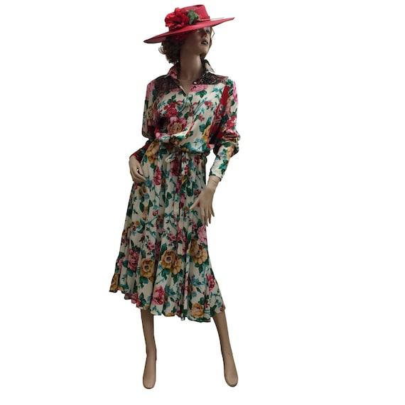 80's Oversized Floral Print Dress