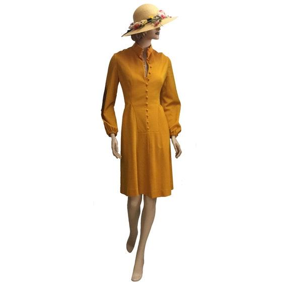 60's Yellow Knit Long-Sleeve Dress