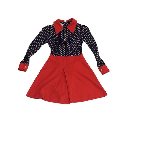 70's Polka Dot / Red Polyester Dress - image 2