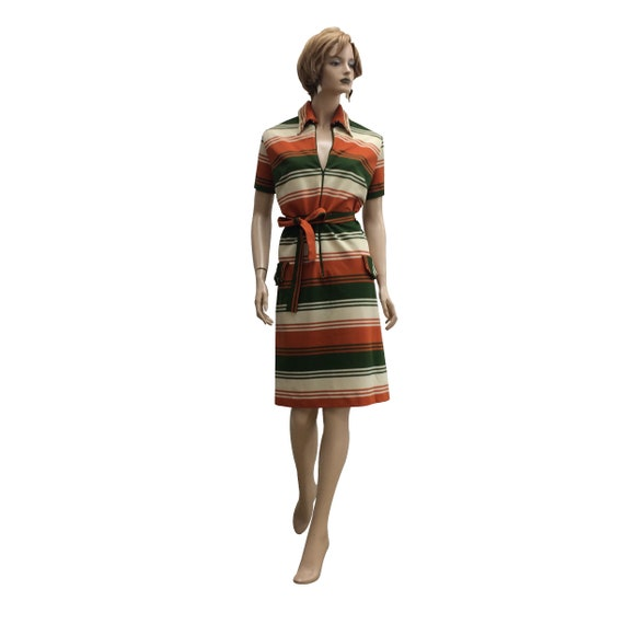 70's Collared Polyester Dress