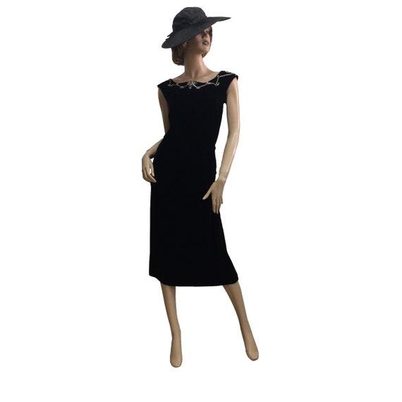 40's Bow Neck Velvet Dress