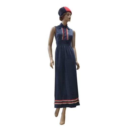 70's Sleeveless Collared Polyester Dress