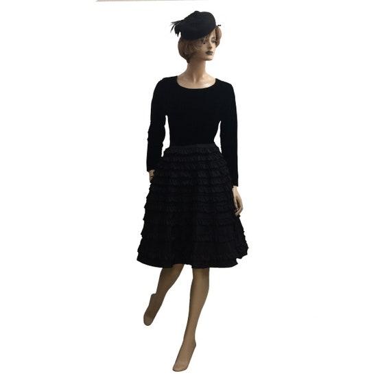 50's Long-Sleeve Velvet and French Taffeta Dress