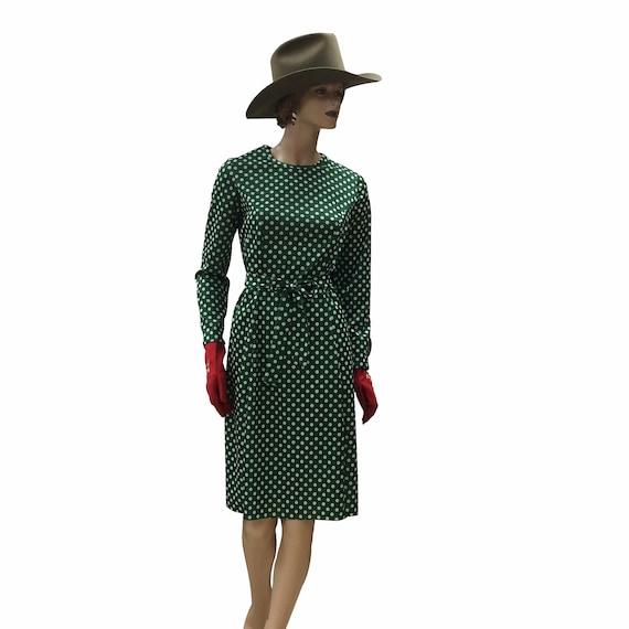 1970s Polka Dot Peplum Dress With Matching Belt