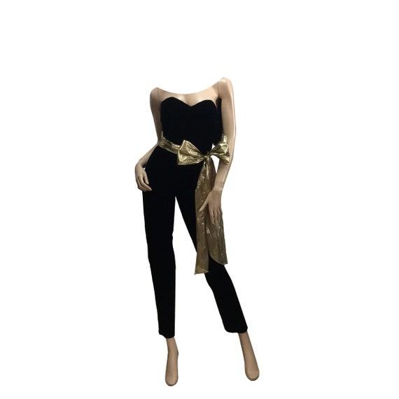 80's Strapless Velvet Jumpsuit