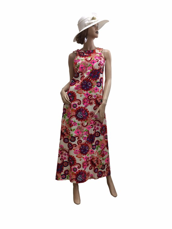 60's Psychedelic Floral Print Dress