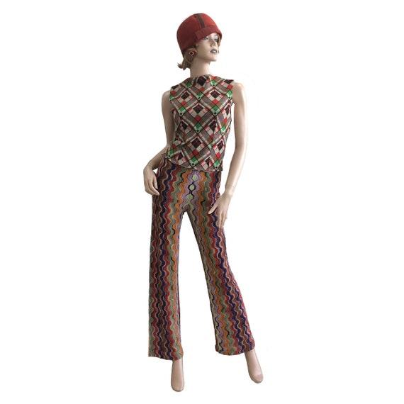 70's Geometric Pattern Rainbow Knit Pants
