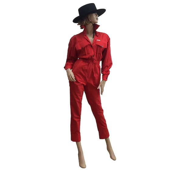 80's Red Saint Germain Twill Jumpsuit