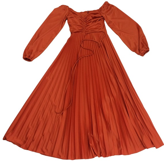 70's Orange Polyester Dress - image 3