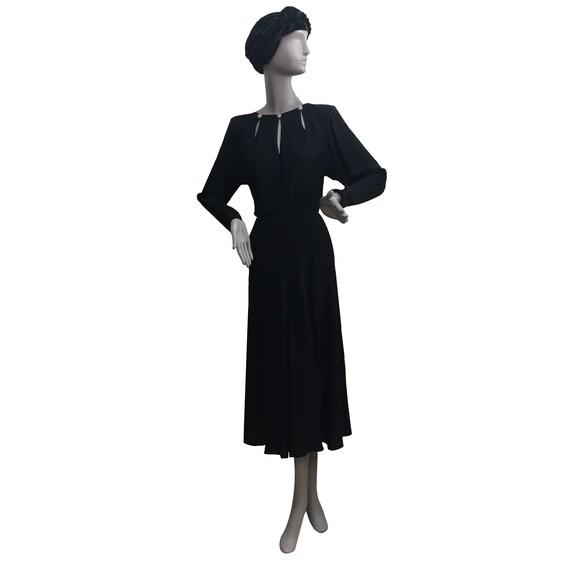 80's Long-Sleeve Crepe Dress