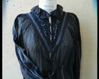 Free Shipping, Beautiful 1950's Beaded and Lace-trimmed Black Blouse, by Ornella's