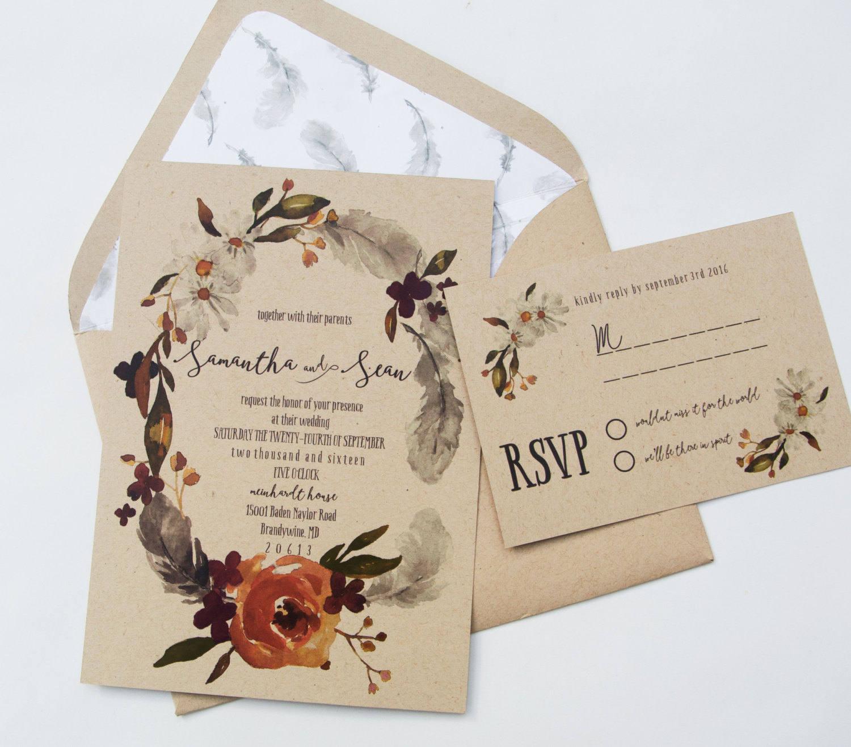 Bohemian Wedding Invitations: Fall Boho Wedding Invitation Boho Wedding Invite Bohemian