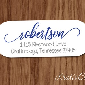 Family Calligraphy Return Address Labels Stickers Custom Personalized Family Return Address Shipping Mailing Label