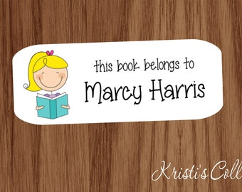Boys Custom Personalized Back to School Gifts Stick Figure this book belongs to This book belongs to Labels Stickers