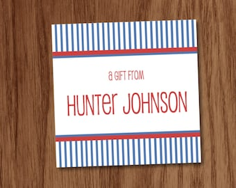 Pinstripe Gift Tags or Stickers, Personalized Calling Cards, Boys Gift Inserts Enclosure Cards, Birthday Gift Tags, A Gift From Cards
