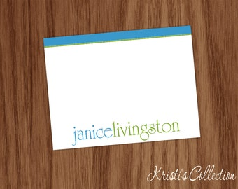 Personalized Flat Note Card Side Dots Mom Teacher Gift Ladies Girls Personal Stationery Stationary Custom Flat Note Cards