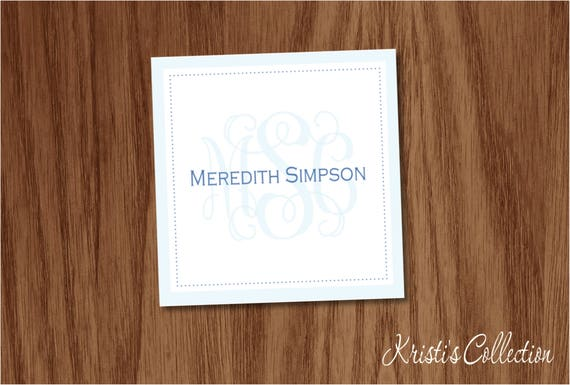 Personalized Monogrammed Calling Card Classic Gift Tags Etsy