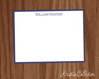 Personalized Classic Flat Note Card Set - Stationery Stationary Custom Masculine Solid Border Cards - Male Boys Dad Gifts