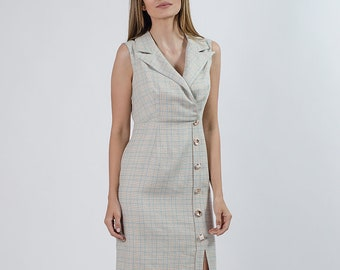 Clara Checked Dress with Lapel and Buttons
