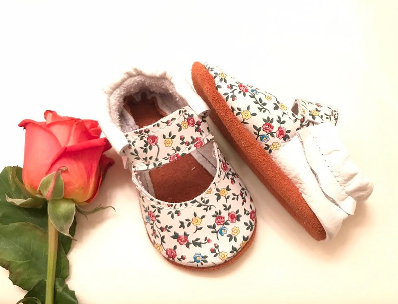 Spring Moccasins Floral Mary Janes soft sole shoes White Floral Moccasins Baby Moccasins
