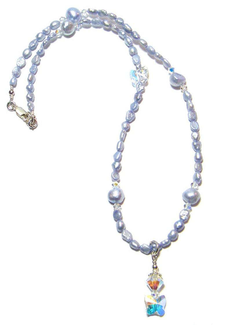 Perlenkette Schmetterling Perlen CollierBlaue HalsketteSwarovski PerlenketteSüßwasser txBosCrhdQ