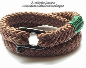 9901f2370990bc Double Wrap Brown Nautical Rope Shackle Bracelet,Shackle Nautical, Unisex  Bracelet,Climbing Bracelet,Survival,Black Steel,Boho,Surf