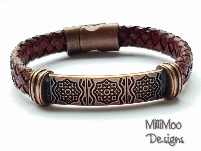 Men/'s Genuine Brown Leather Wristband Multi Cord Bracelet Surfer Magnetic Clasp