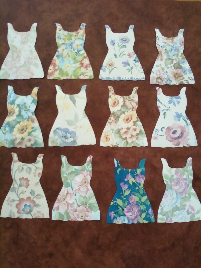 Set Of 12 Paper Floral Dresses Hand Cut From Wallpaper Samples Etsy