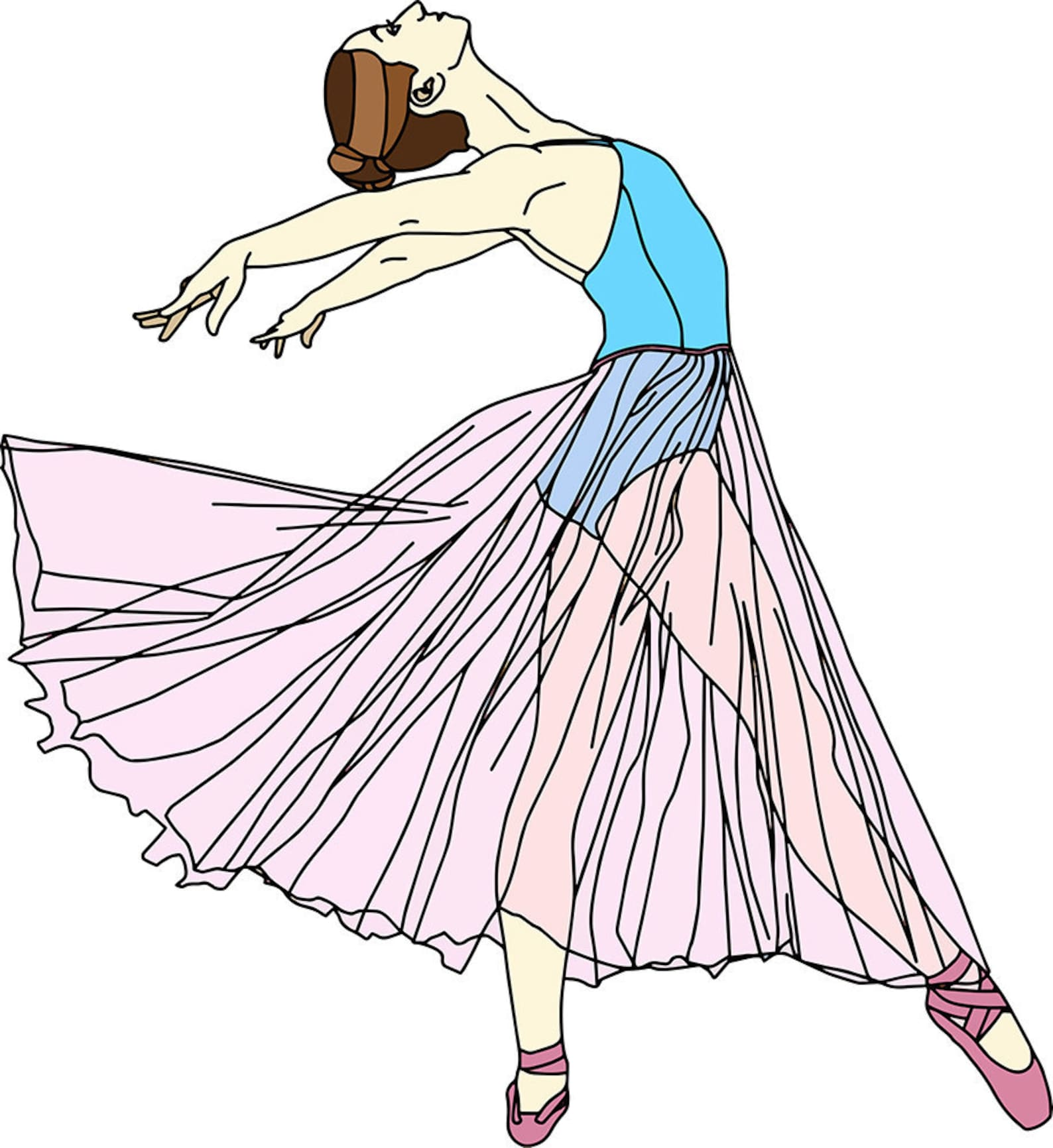 ballerina dancer vector art illustration pvc board print blue leotard pink shoe skirt bun ballet modern contemporary dance grace