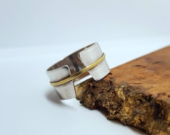 RIDER black oxydized silver and ring with a brass center piece Handmade adjustable unisex alternative