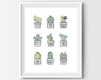 Cactus Print, Cactus Decor, Cactus Art, Cacti Print, Cactus Poster, Cactus Illustration, Cactus Wall Art, Cactus Printable, Spring Decor