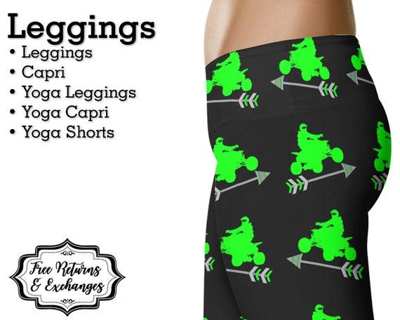 d56489e5420b5 Green ATV & Arrow Leggings Four Wheeler Yoga Pants | Etsy
