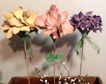 fabric flowers wood stems rose carnation daisy peony prim muted ombre or solid colors custom colors choose color/style