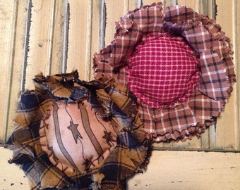 """pin/brooch or magnet~homespun fabric flower/sunflower about 3""""~two styles to choose from~cute worn or on tote bag"""