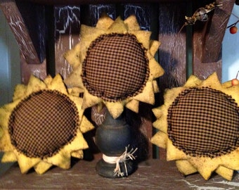 Primitive Sunflower Set pincushion ornament magnet homespun summer fall primitive decor bowl filler wreath addition seamstress gift set