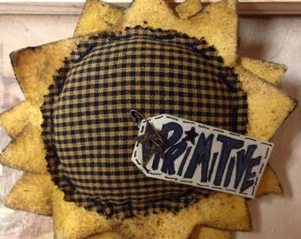 Primitive Sunflower Head Ornament Magnet Bowl Filler doorknob hanger pick prim summer/fall decor homespun