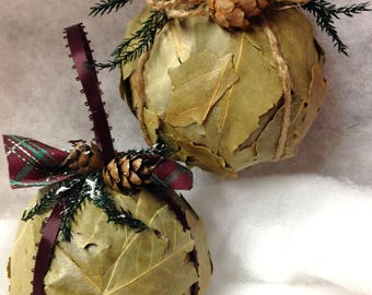 natural rustic woodland set of two ornaments winter decor kitchen den bay leaves hemlock cones princess pine jute satin ribbon