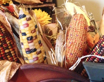 Indian corn cobs made from fabric bowl fillers picks real corn husks Autumn harvest decor real size or mini realistic looking corn