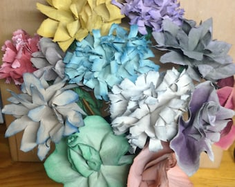 Fabric Flowers on Wood Stems~Rose/Daisy/Carnation/Peony~Hand-Painted Prim Muted Ombre or Solid Colors~Choose Color and Style, NEW COLORS!