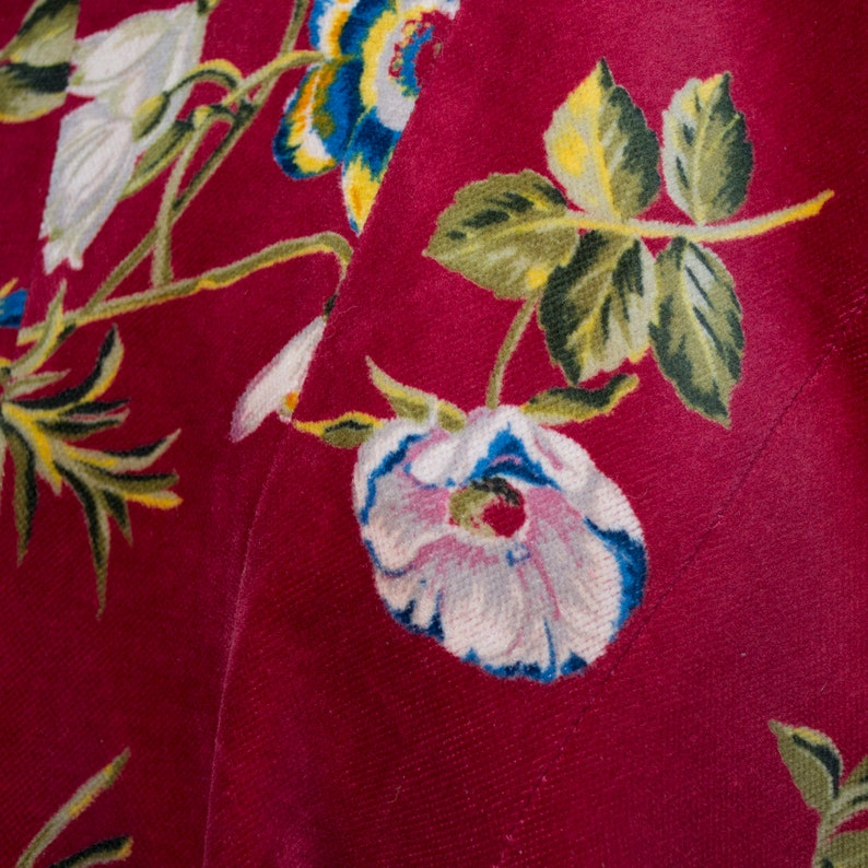 M-L  vintage 1990  Kenzo deep red velvet and flowers KENZO frock coat shawl collar  38-40