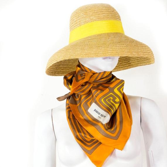 Paco RABANNE silk scarf geometric patterns yellow-