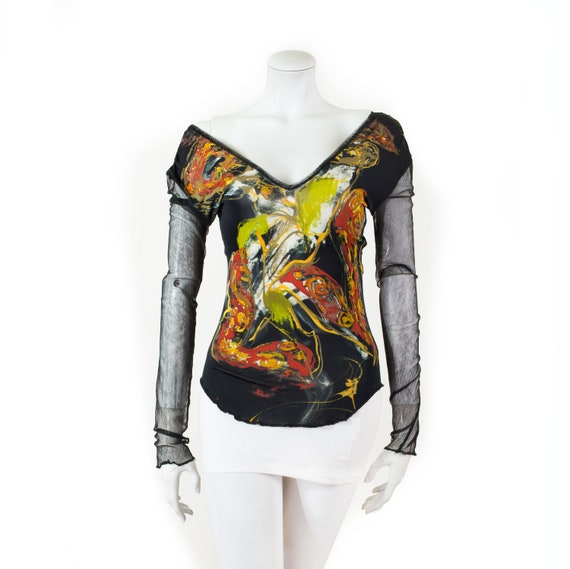 Jean Paul GAULTIER black top and abstract figures,