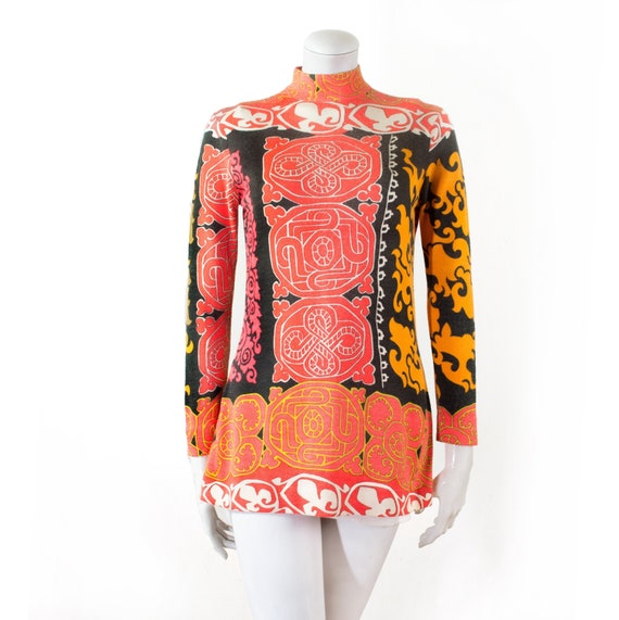 Tunic LÉONARD fine wool, geometric patterns / 70s