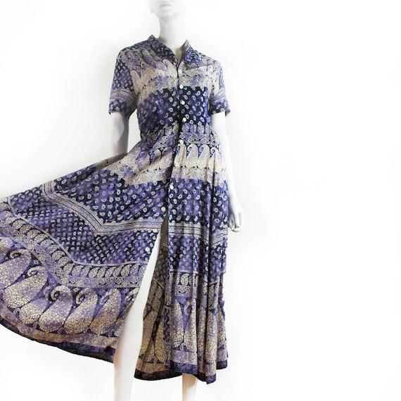 René DERHY blue Provencal print long dress, ultra