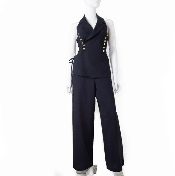 Paco RABANNE lace-up back set, sailor pants, golde