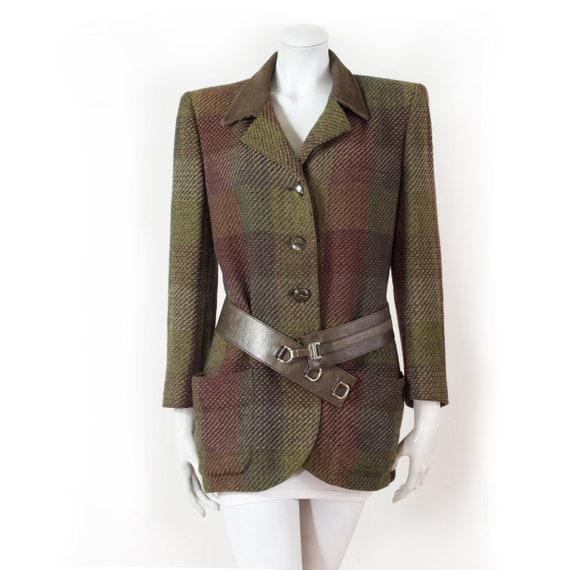 UNGARO long tweed jacket, suede collar / 40 - L /